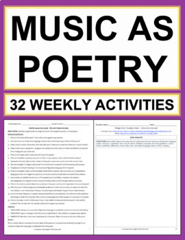 MUSIC AS POETRY: Weekly Activities