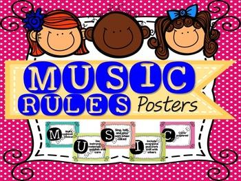 MUSIC Acronym of Classroom Rules Poster {Polka Dot Theme}