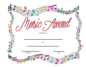 "MUSIC Award on page size 8.5"" x 11"" Printable"