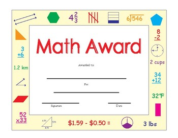 """MATH Award on page size 8.5"""" x 11"""" Printable"""