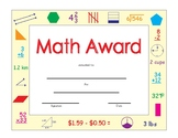 "MATH Award on page size 8.5"" x 11"" Printable"