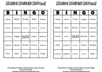MUSIC BASICS BINGO!  YOUR MUSIC STUDENTS WILL LOVE IT!