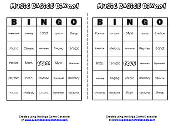 MUSIC BINGO! GREAT FUN FOR YOUR MUSIC STUDENTS!