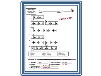 MUSIC BOX DYNAMICS Worksheet- Assess Loud & Soft. Great For Subs!