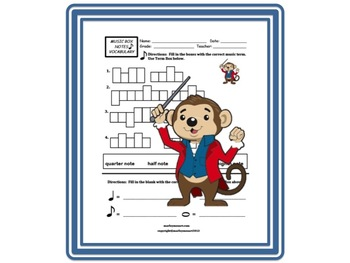 MUSIC BOX NOTE VALUE WORKSHEET- Assess Notes! w Answer Key