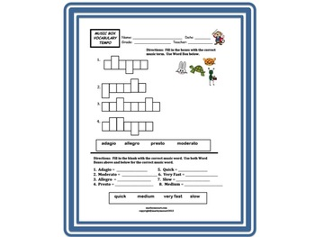 MUSIC BOX TEMPO VOCABULARY WORKSHEET! ASSESSMENT FOR TEMPO & Great for Subs!