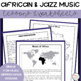 African and Jazz Music Lessons and Worksheets
