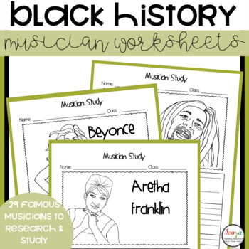 Black History Month Musician Study Worksheets