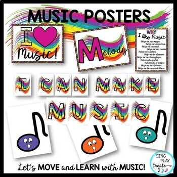 MUSIC CLASS Posters, Standards, I Can Statements, Decor, Bulletin Board Graphics