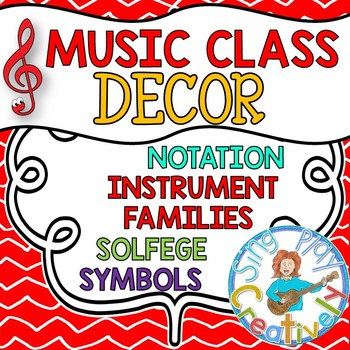 Back to School Music Class Decor: Red Theme Posters, Bulle