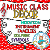 Music Class Decor: Red Theme Posters, Bulletin Boards with Games
