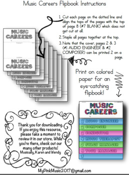 MUSIC Career Flip-Book: each page is a different job in the music industry