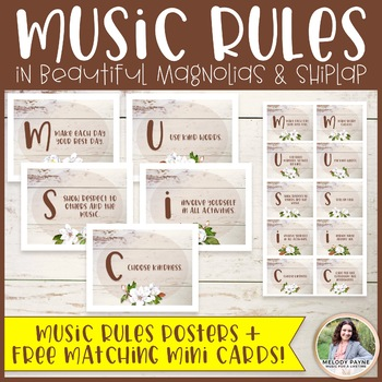 MUSIC Classroom Rules: Magnolias and Shiplap {Music Class Decor}