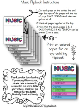 MUSIC Concepts Flip-Book: dynamics, tempo, melody, beat, rhythm, compose, form