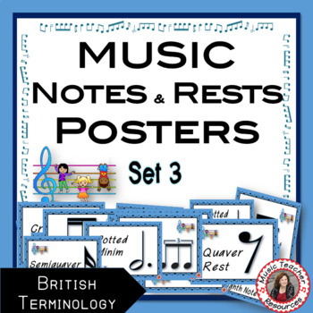 MUSIC DECOR: Notes and Rests Posters Set 3 British Terminology