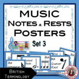 MUSIC Classroom Decor Kit: Notes and Rests: Set 3 British Terminology