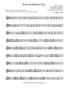 MUSIC Draw the Barlines (2a 4/4 Time Only)
