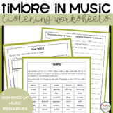Elements of Music Performing Media and Timbre Listening Worksheets