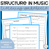 Elements of Music Structure Listening Worksheets