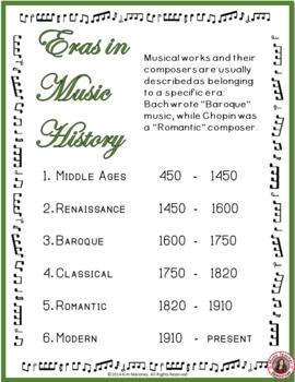 Music History Poster - Eras of Western Art Music