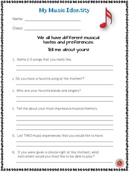 Back to School Music Student Information Sheets: Teacher Planning