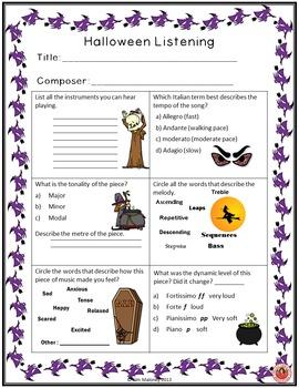 Halloween Music Activities: Listening Response Sheets