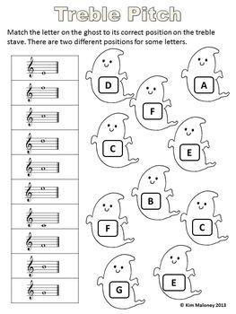 MUSIC Halloween Worksheets B/W
