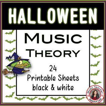 Halloween Music Activities: 24 Halloween Worksheets B/W