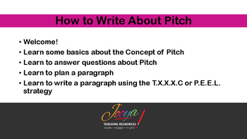 MUSIC - How to Write About Pitch - FREE Video Slides
