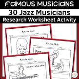 Jazz Musician Worksheets