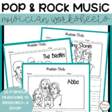Rock and Pop Musician Worksheets