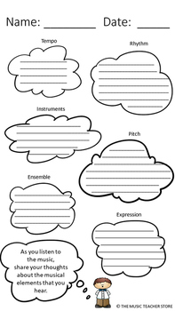 MUSIC LISTENING GRAPHIC ORGANIZER- SHARE YOUR THOUGHTS!