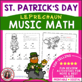 St Patrick's Day Music Worksheets: Music Math - Leprechauns: March Music Lessons