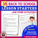 BACK to SCHOOL MUSIC ACTIVITIES: 35 Lesson Starters and other Activities