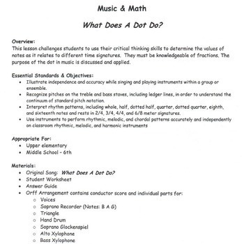 MUSIC & MATH - What Does A Dot Do? - Lesson Plan, Song, Worksheet, ORFF Arrgmt.