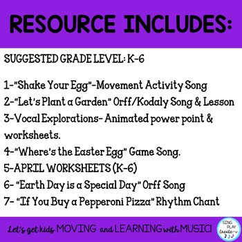 April Music Class Lesson Bundle: Lessons, Songs, Games, Worksheets, VIDEOS