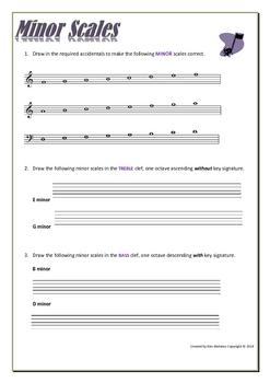 MUSIC: Minor Scales - worksheets