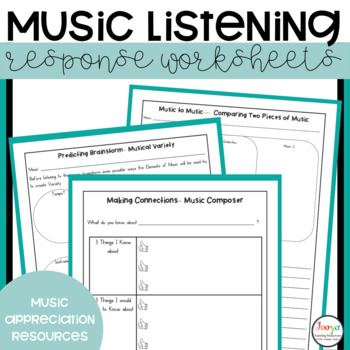 Music Listening Response Worksheets with Super Six Reading Strategies