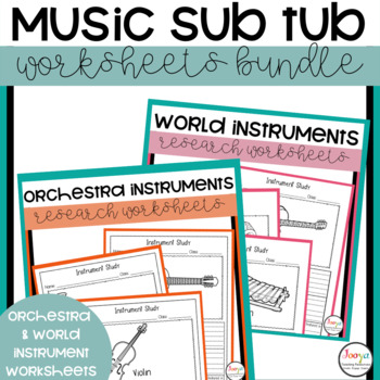 Music Sub Tub Worksheets Bundle