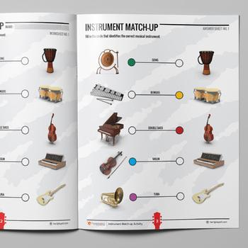 MUSIC: Musical Instruments Match-up Activity - 5 Worksheet Sets