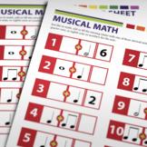 MUSIC: Musical Math Activity Worksheet