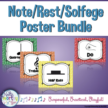 Solfege and Note/Rest Music Poster Bundle {Rainbow Colors}