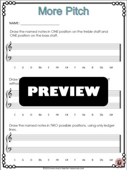 Music Theory: Pitch Worksheets