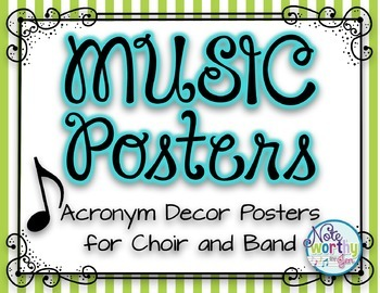 MUSIC Posters {Acronym Music Decor Posters for Band, Choir, Orchestra} STRIPED