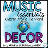 Music Class World Theme Decor Bulletin Boards, Games, Editable