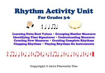 MUSIC Rhythm Activities Worksheets Unit