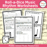 Music Rhythm Worksheets- Roll a Dice
