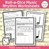 Music Rhythm Worksheets- Roll a Dice