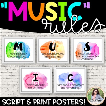 MUSIC Rules Posters {Watercolor Music Decor}