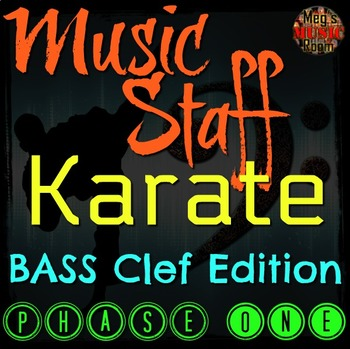 MUSIC STAFF KARATE - BASS Clef Edition - PHASE ONE - Elementary Music PPT Game
